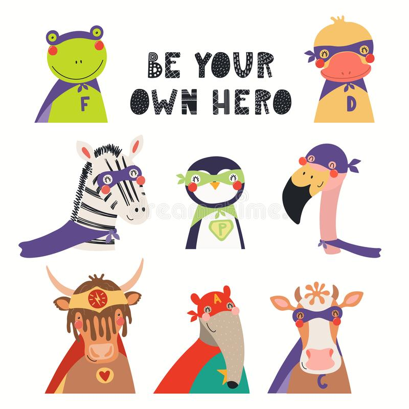Cute animal superheroes set. Big set of cute animal superheroes, with lettering Be your own hero. Isolated objects on white background. Hand drawn vector royalty free illustration