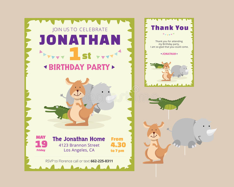 Cute Animal Theme Birthday Party Invitation And Thank You Card Illustration Template stock illustration