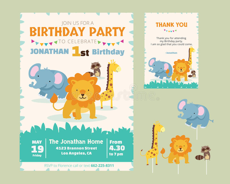 Cute Animal Theme Birthday Party Invitation Stock Vector ...