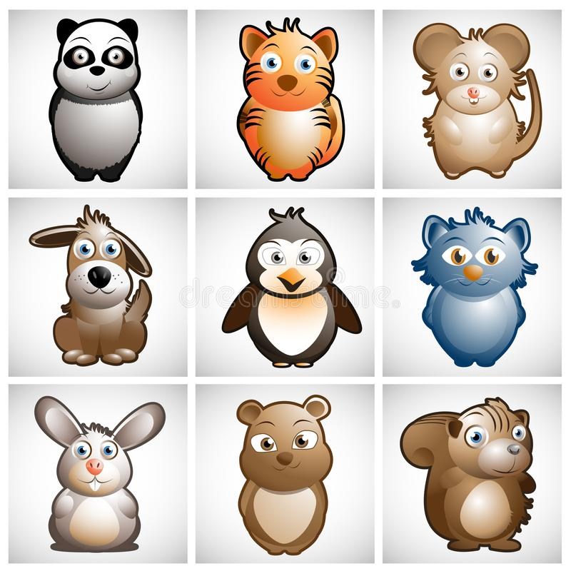 Cute animal vector illustration collection royalty free illustration