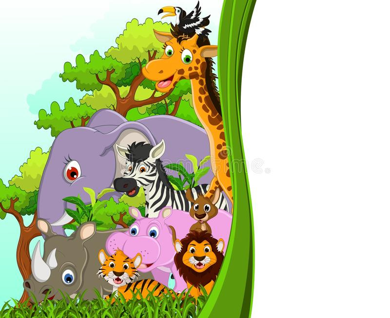 Download Cute Animal Wildlife Cartoon With Forest Background Stock Illustration - Image: 34268930