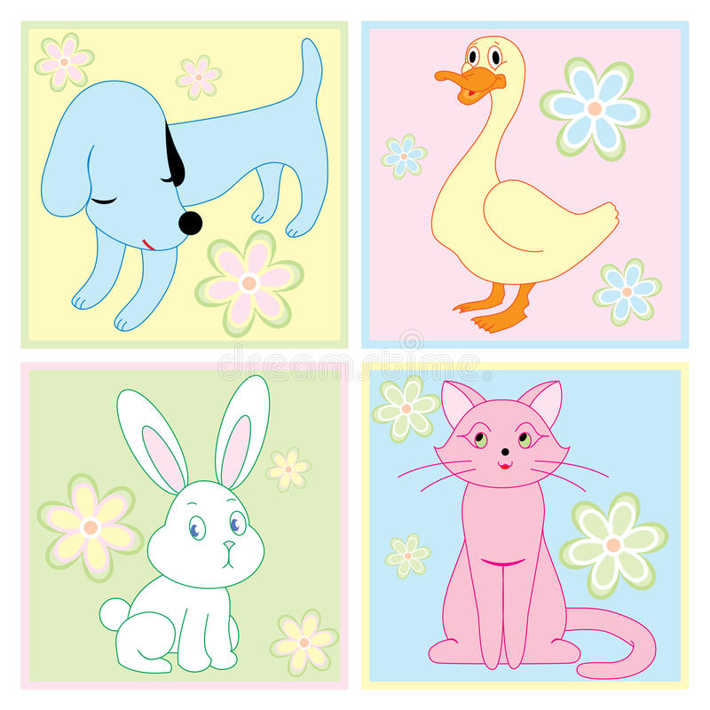 Download Cute animals stock vector. Image of puppy, baby, pastels - 15983148