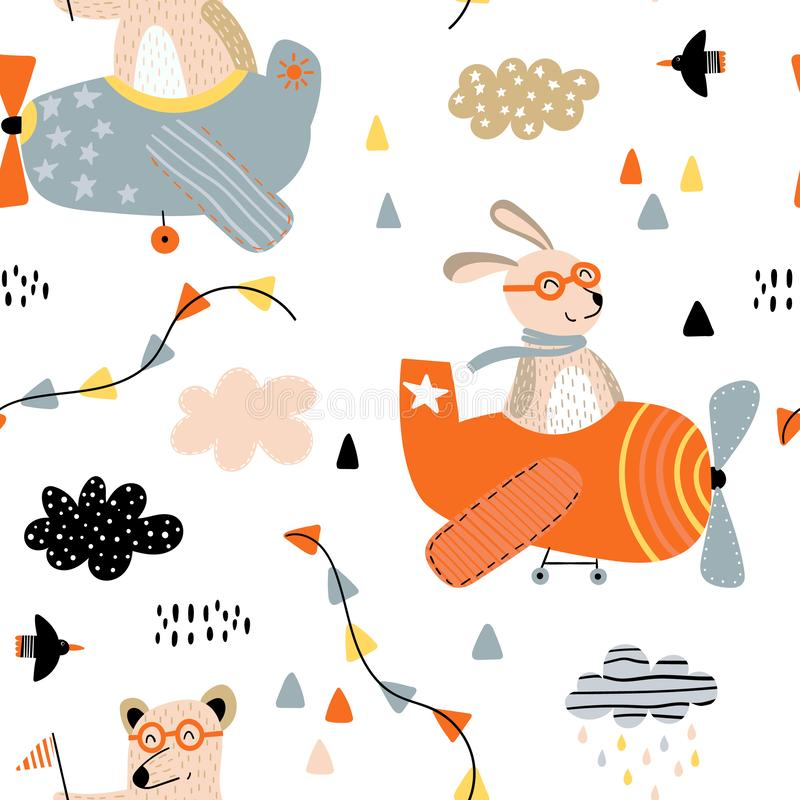 Cute animals in airplanes pattern stock illustration