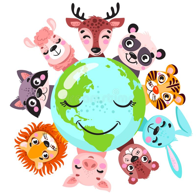 Cute animals around globe banner vector illustration. Animals planet concept, world continents fauna, world map with wild animals. royalty free illustration