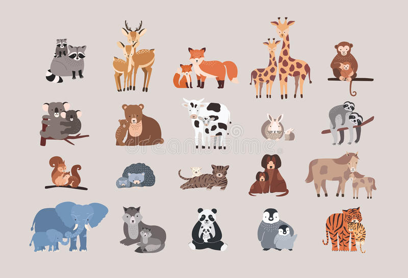 Cute animals with babies set. raccoon, deer, fox, giraffe, monkey, koala, bear, cow, rabbit, sloth, squirrel, hedgehog royalty free illustration