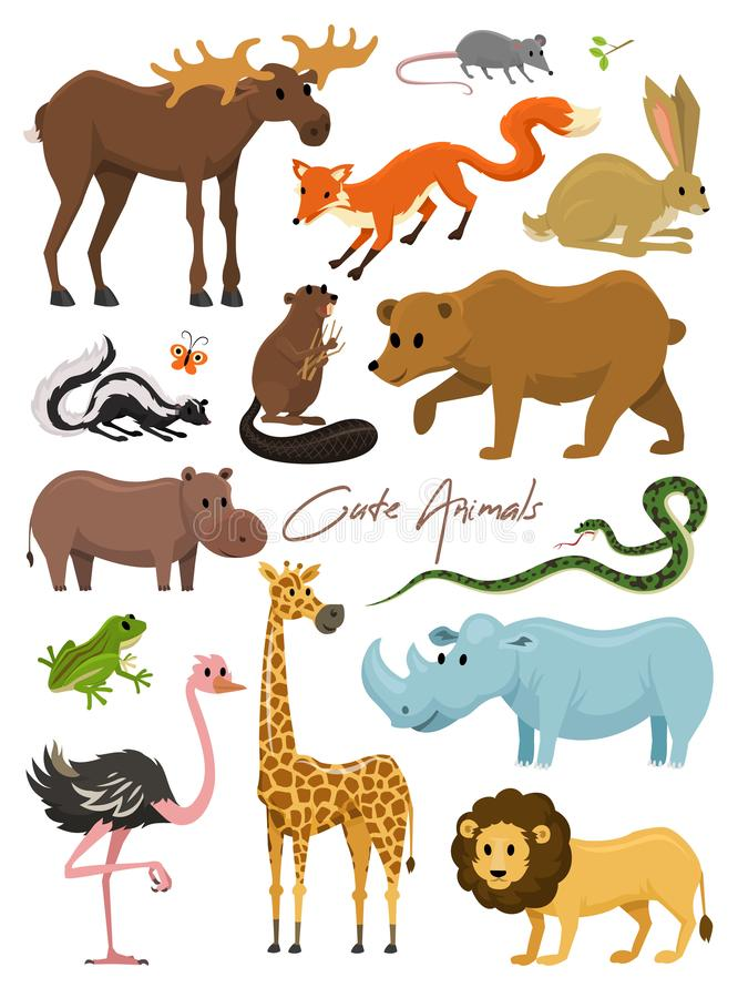 Cute animals for baby. Wild giraffe moose camel and deer, rhinoceros. hare, wolf and bear with lion and tiger. vintage vector illustration