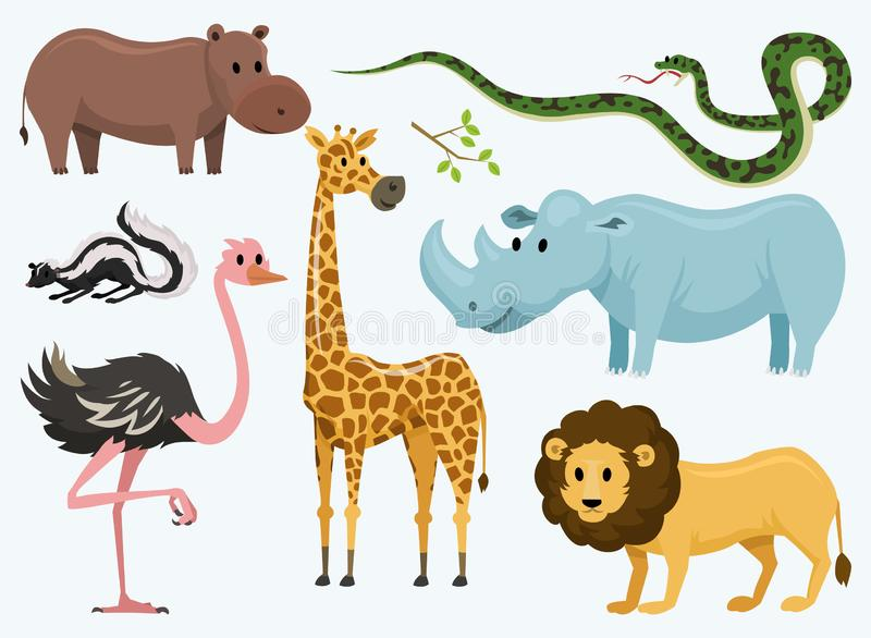 Cute animals for baby. Wild giraffe rhinoceros. ostrich and skunk. snake and hippopotamus. lion and tiger. vintage world royalty free illustration