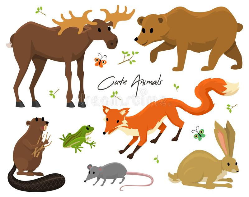 Cute animals for baby. Wild moose and deer, hare, wolf and bear. frog and fox. vintage world. Cartoon vector. royalty free illustration
