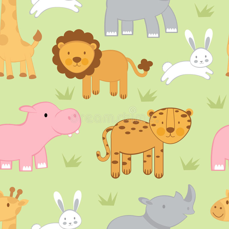 Download Cute animals background stock vector. Image of baby, hippopotamus - 23627949