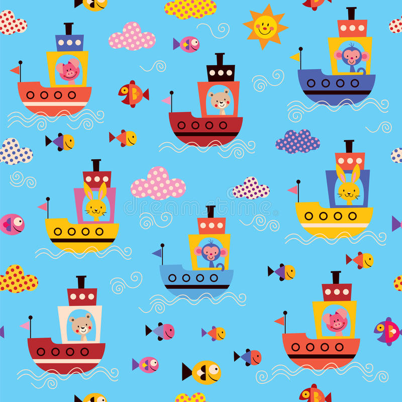 Cute animals in boats kids sea pattern royalty free illustration