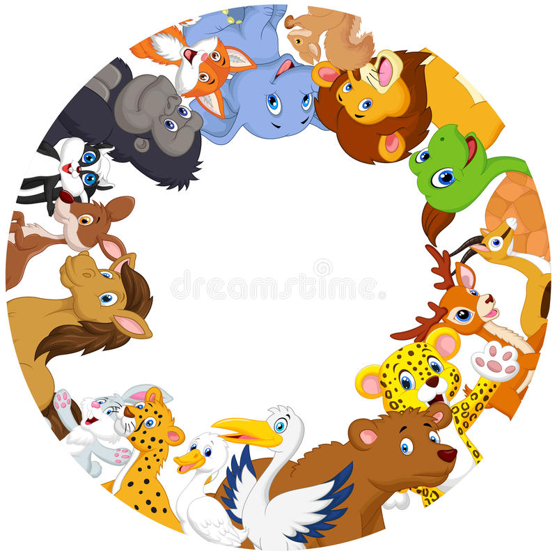Cute animals cartoon around globe royalty free illustration