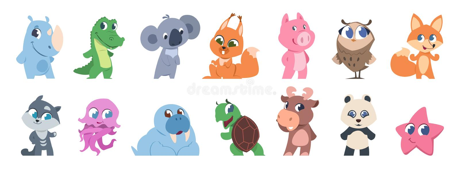 Cute animals. Cartoon baby pets and forest wild animals, fanny children characters. Vector baby animal set isolated on royalty free illustration