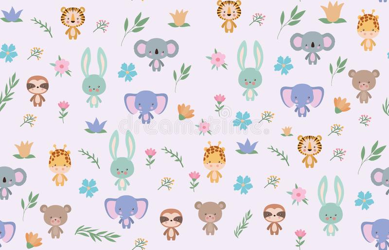 Isolated cute animals cartoons background vector design. Cute animals cartoons design, Zoo life nature character childhood and adorable theme Vector illustration vector illustration