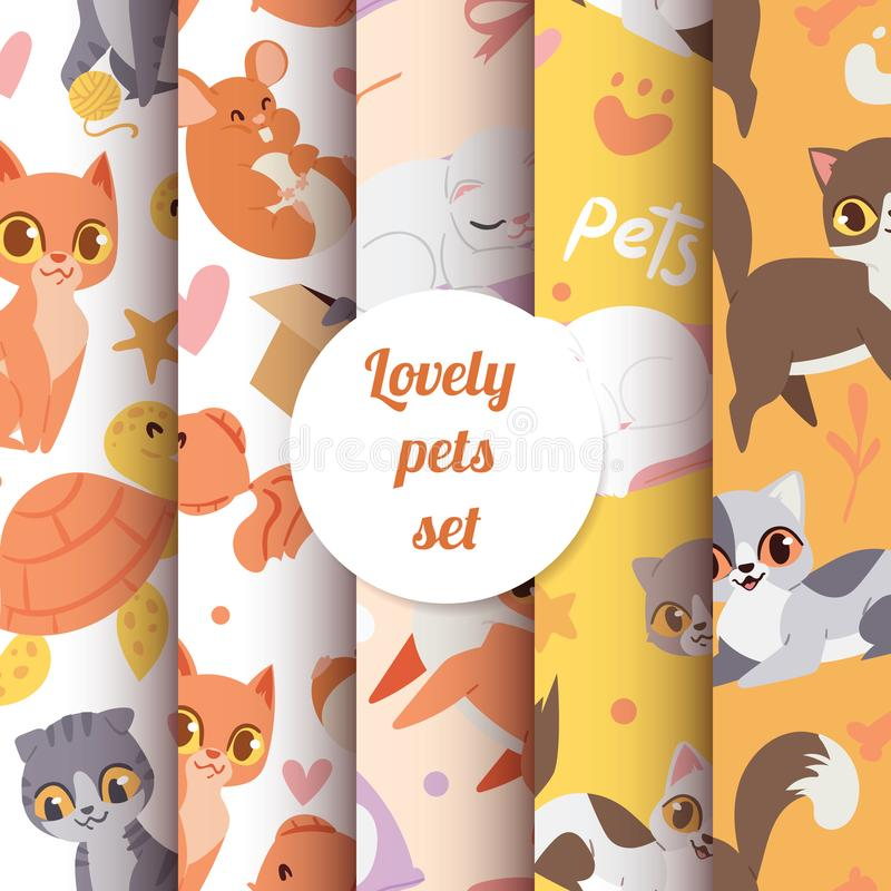 Cute animals cats seamless pattern with lovely characters pets vector illustration. vector illustration