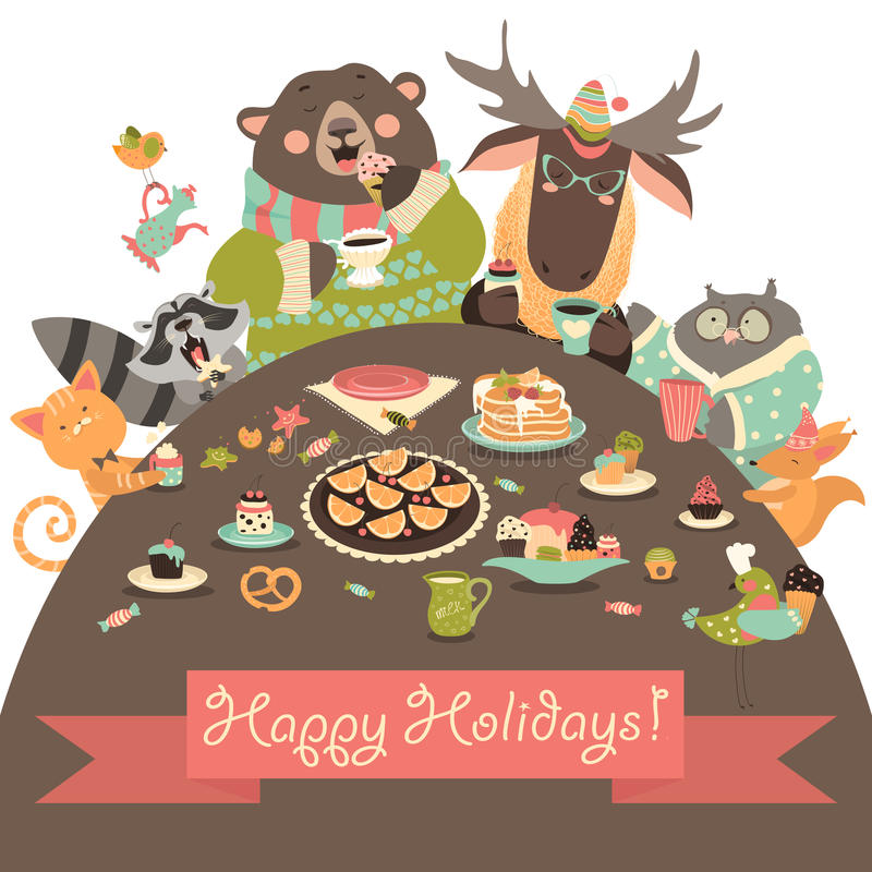 Cute animals celebrating holidays. Vector greeting card stock illustration