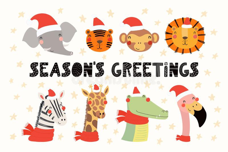 Cute animals Christmas set vector illustration