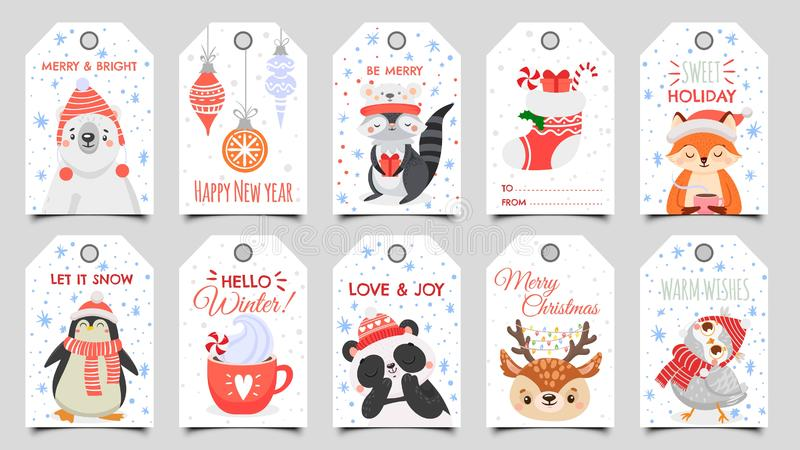 Cute animals christmas tags. Holiday gift tag with winter owl, deer and bears. Happy animal celebrate xmas label cartoon. Cute animals christmas tags. Holiday stock illustration