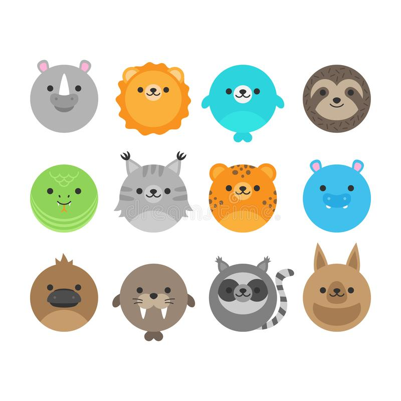 Cute animals collection vector graphic stock illustration