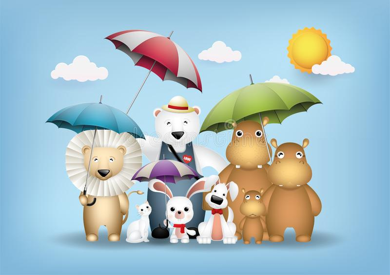 Cute animals and colorful umbrellas. Vector and Illustration graphic digital craft style,Cute animals and colorful umbrellas vector illustration