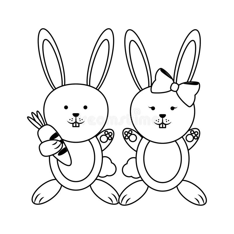 Cute animals couple in black and white stock illustration