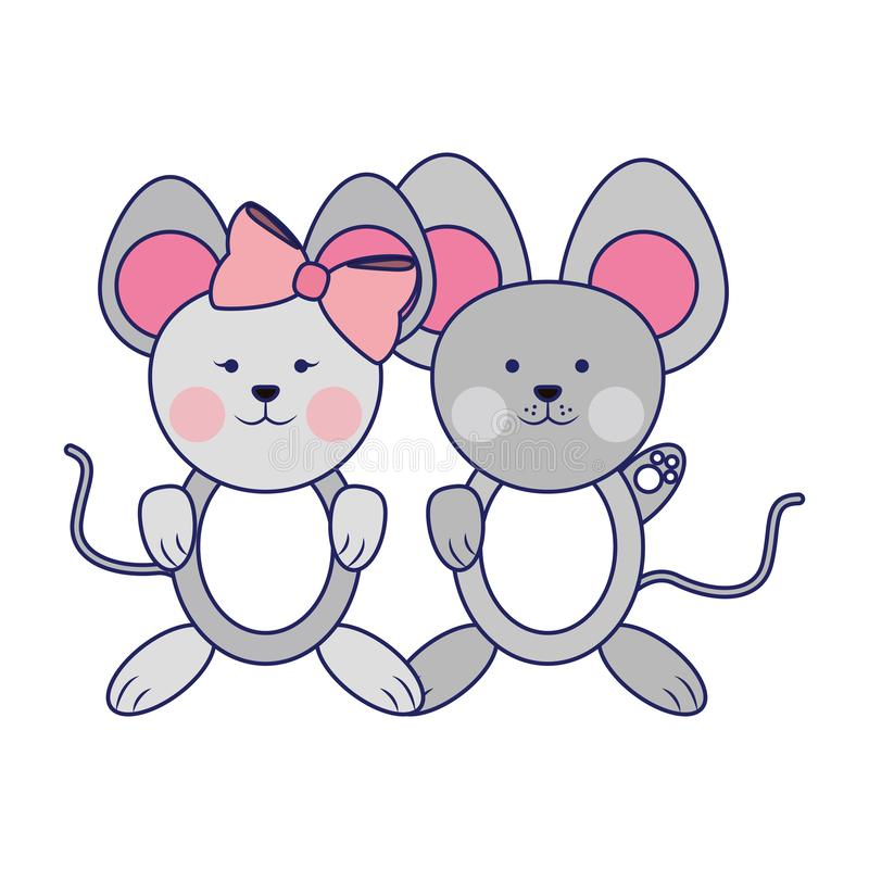 Cute animals couple blue lines vector illustration