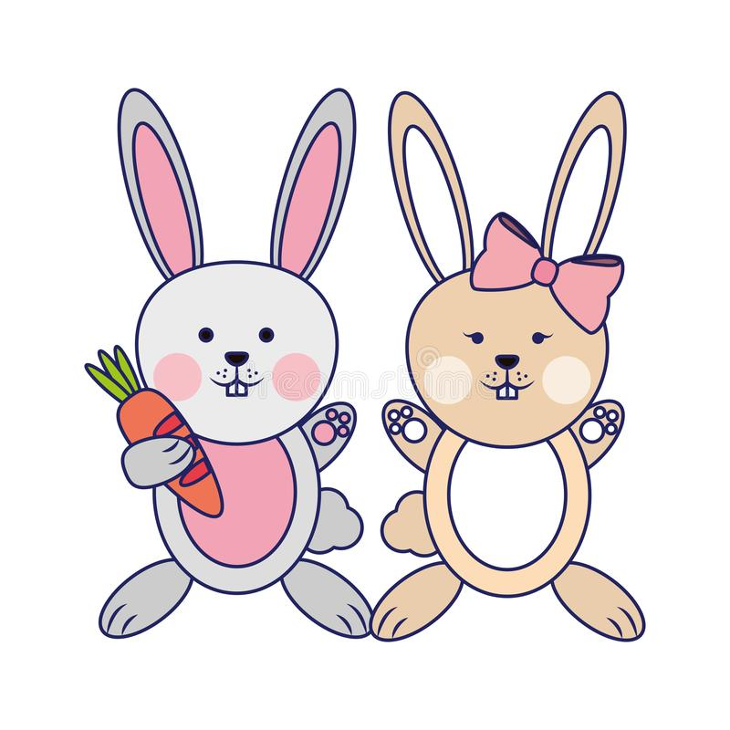 Cute animals couple blue lines stock illustration