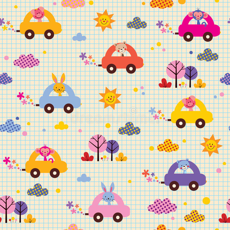 Cute animals driving cars note book paper kids pattern vector illustration