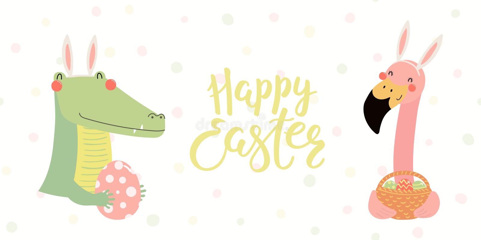 Cute animals Easter banner royalty free illustration