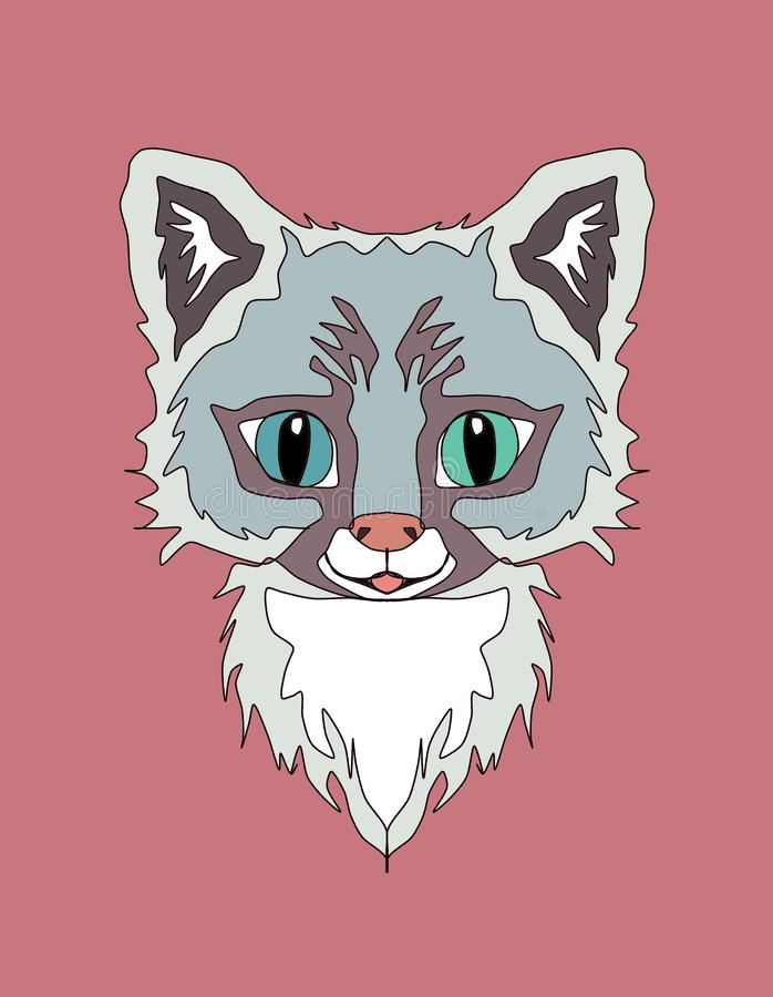 Cute animals embroidery print applique canvas , cat ,  kids room wall decor, textile print, t-shirt print, illustration vector illustration