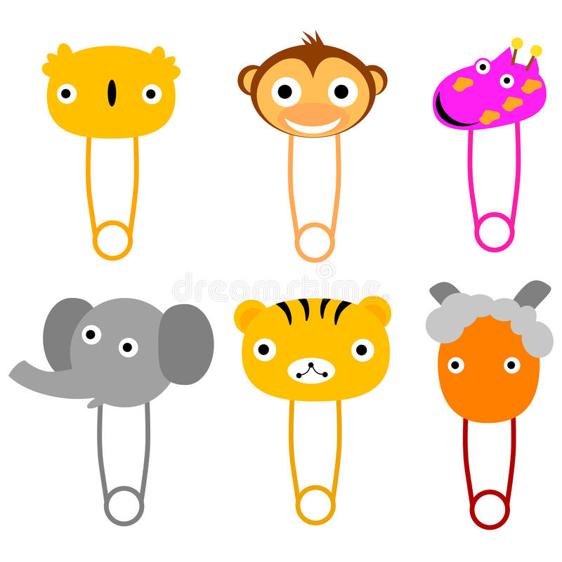 Cute Animals Face #02, isolated on white vector illustration