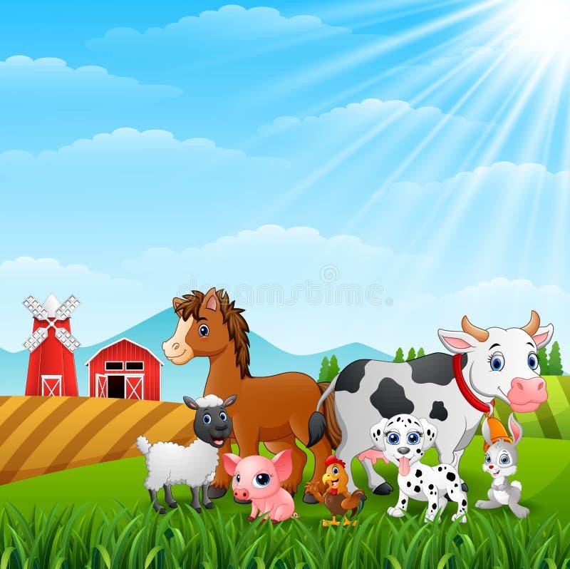 Cute animals in the farm stock illustration