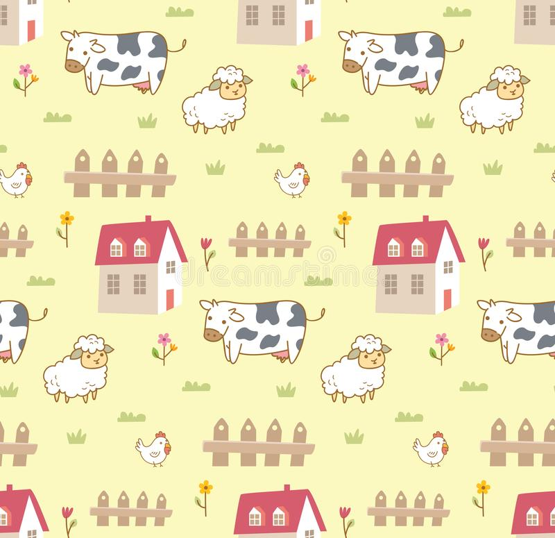 Cute animals in the farm seamless background with cow, sheep and chicken vector illustration