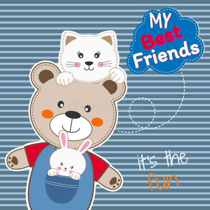 Cute animals friends, bear, cat and rabbit. Happy Friendship day. stock images
