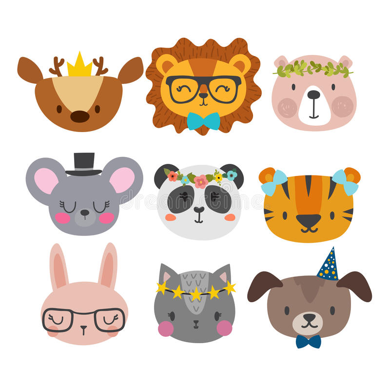 Cute animals with funny accessories. Cat, lion, panda, dog, tiger, deer, bunny, mouse and bear. Cartoon zoo. Set of hand drawn smi stock illustration