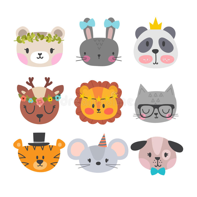 Cute animals with funny accessories. Set of hand drawn smiling characters. Cartoon zoo. Cat, lion, panda, dog, tiger, deer, bunny, vector illustration