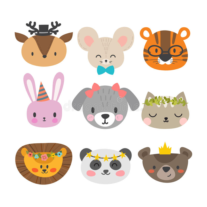 Cute animals with funny accessories. Set of hand drawn smiling characters. Cat, lion, dog, tiger, panda, deer, bunny, mouse and be royalty free illustration