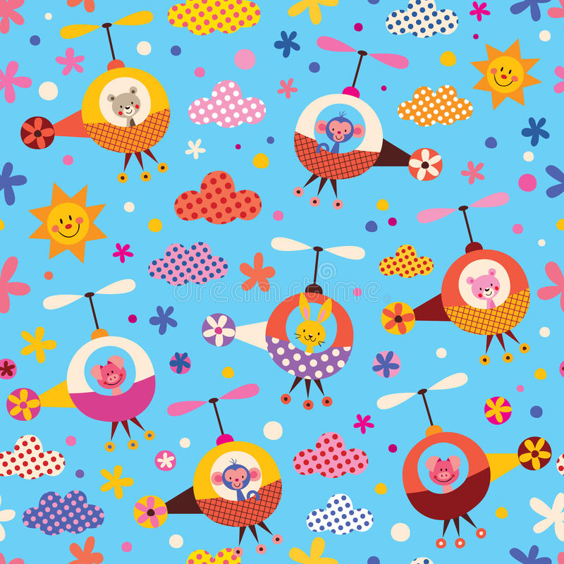 Cute animals in helicopters kids pattern royalty free illustration