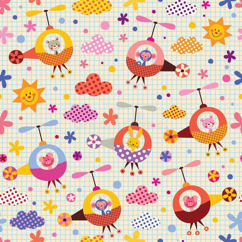Cute animals in helicopters kids pattern vector illustration