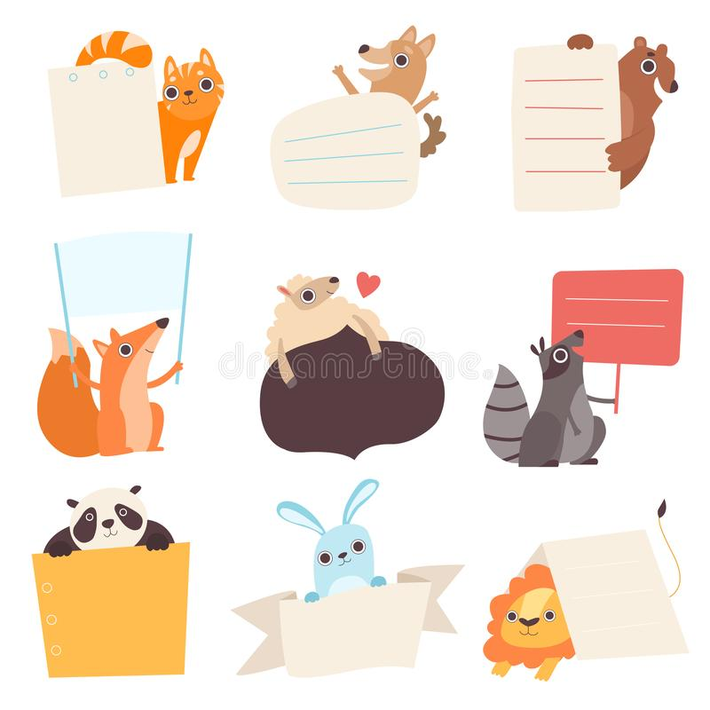 Cute Animals Holding Empty Banners Set, Funny Cartoon Cat, Dog, Bear, Fox, Sheep, Raccoon, Panda, Rabbit, Lion with stock illustration