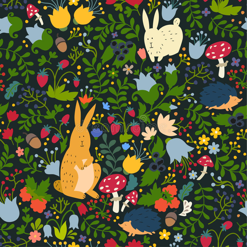 Cute animals on magic forest seamless pattern. Rabbit and hedgehog vector illustrations for baby royalty free illustration