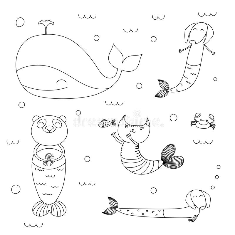 Download Cute Animals Mermaids Coloring Pages Stock Vector   Illustration  Of Drawn, Drawing: 110833815