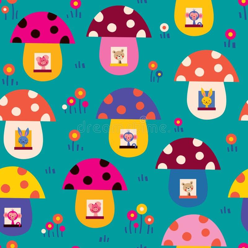 Cute animals in mushroom houses kids pattern vector illustration
