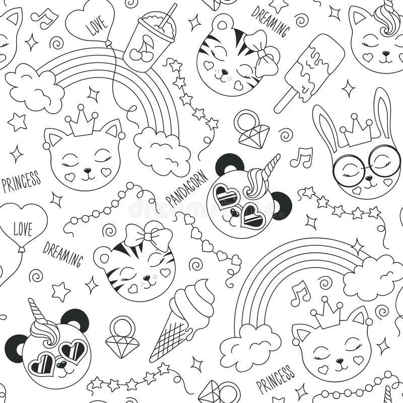 Free Cute Animals Pattern On A White Background. Drawing For Kids Clothes, T-shirts, Fabrics Or Packaging. Black And White Abstract Royalty Free Stock Photo - 138009915