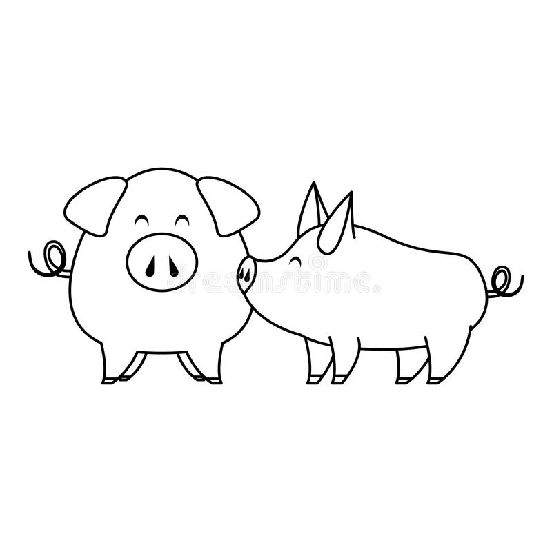 Cute animals pigs farm cartoon in black and white stock illustration