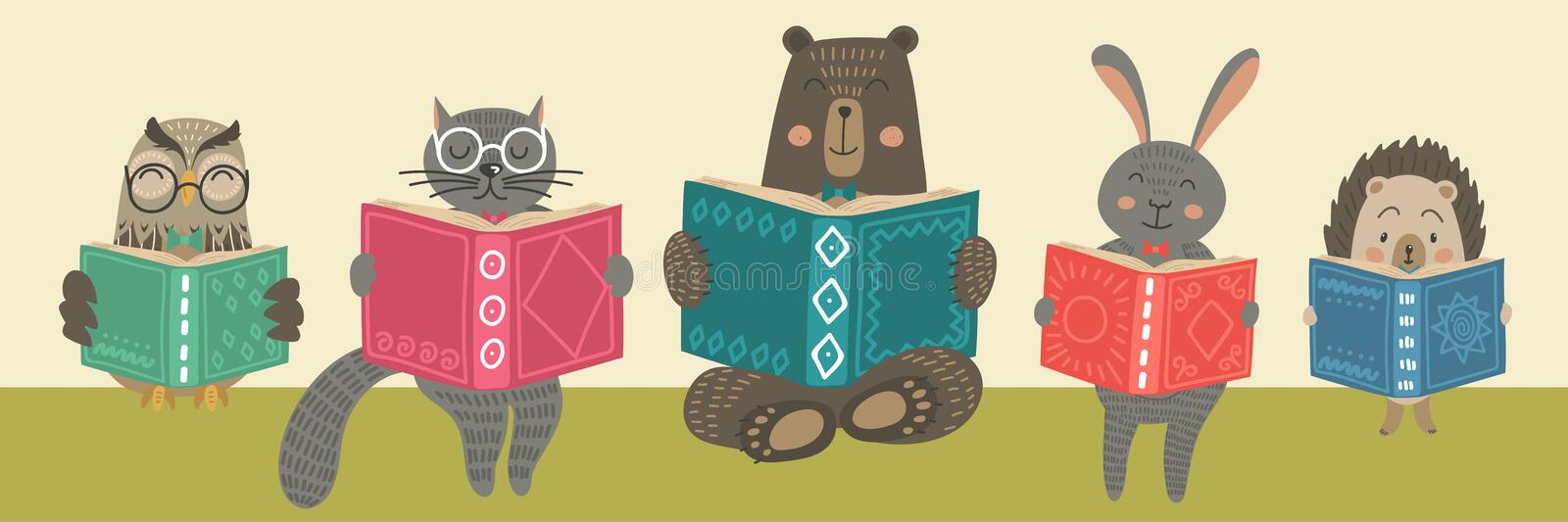 Cute animals readimg books. vector illustration