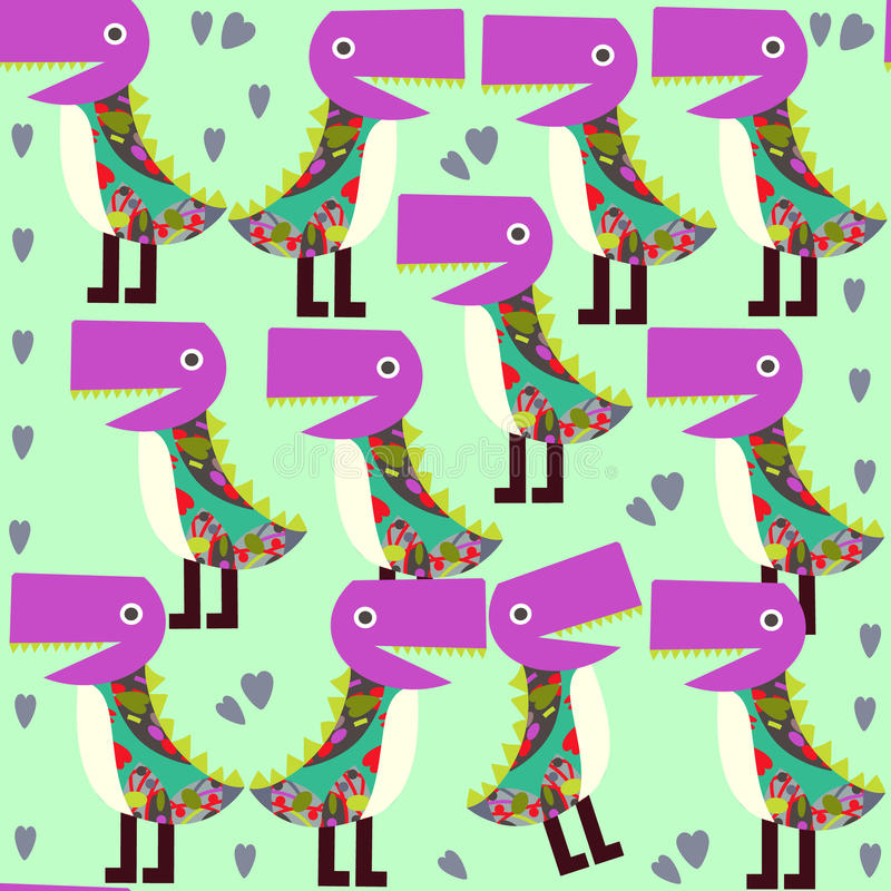 Cute animals seamless pattern with monsters and seamless patter vector illustration