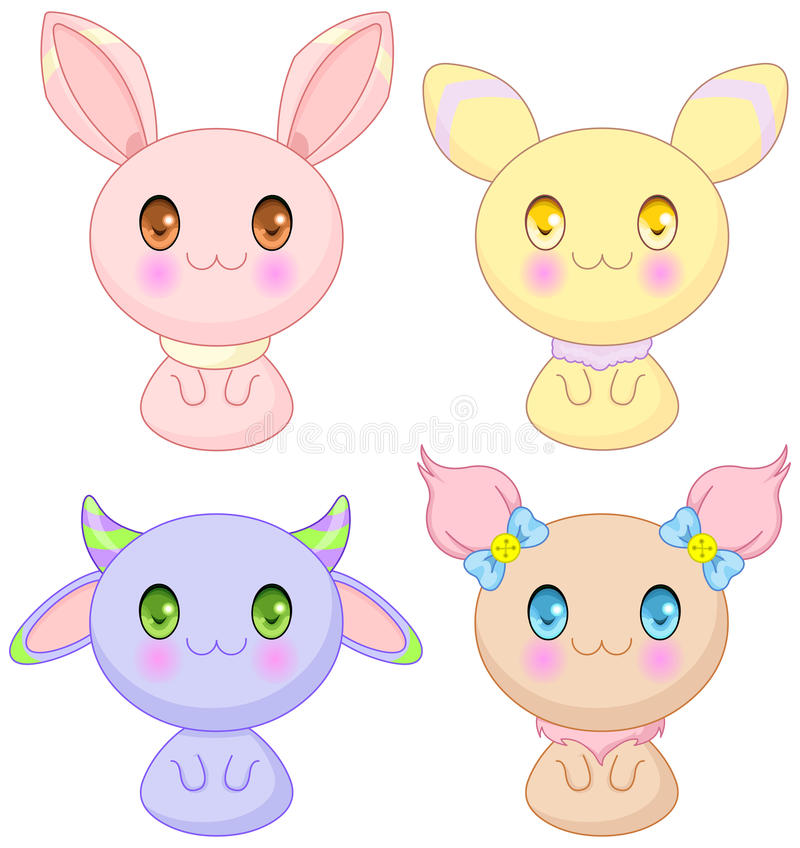 Cute Animals. Set of bunny baby animals collection vector illustration