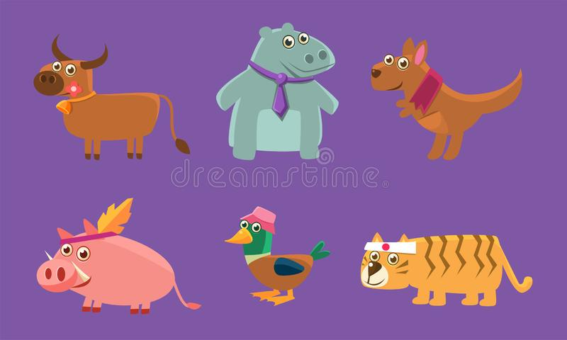 Cute Animals Set, Deer, Hippo, Kangaroo, Pig, Duck, Tiger Vector Illustration royalty free illustration