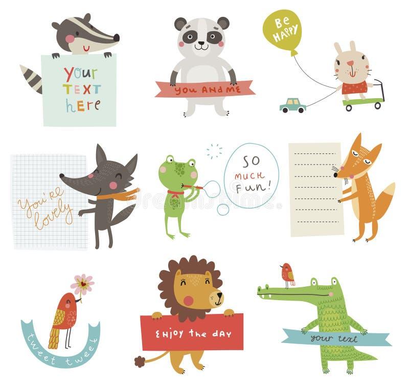 Cute animals set royalty free illustration