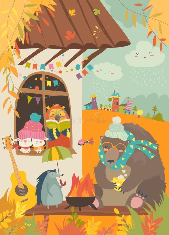 Cute animals sitting around bonfire at backyard royalty free illustration